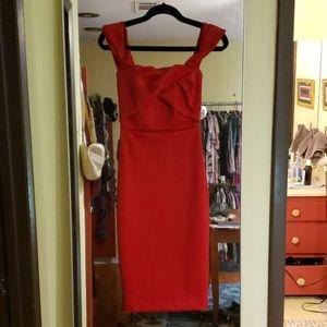 ASOS red off- shoulder cocktail dress